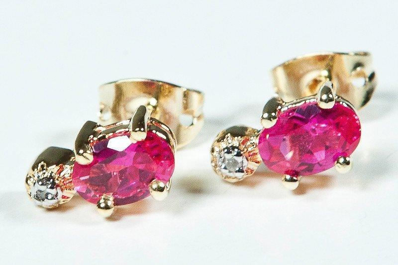 169: Genuine .85 CT Ruby Diamond Earrings