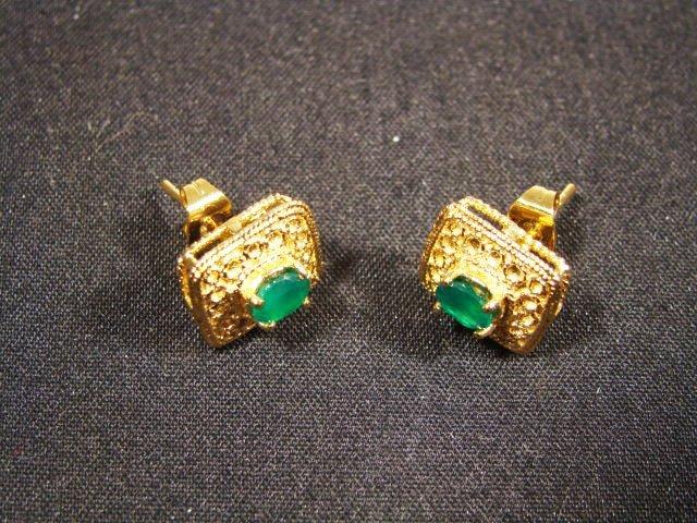 180: Genuine 1 CT Emerald Museum Stud Earrings