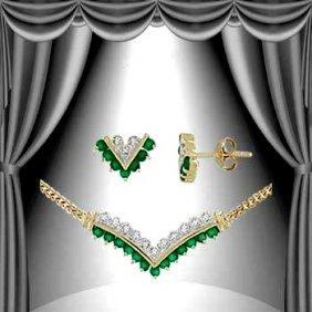 Genuine 1 Ct. Emerald Agate Diamond Set