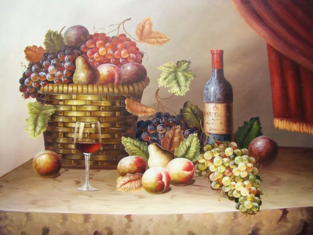 "220: Still Life Painting in Large 36x48 Size ""Wine and"