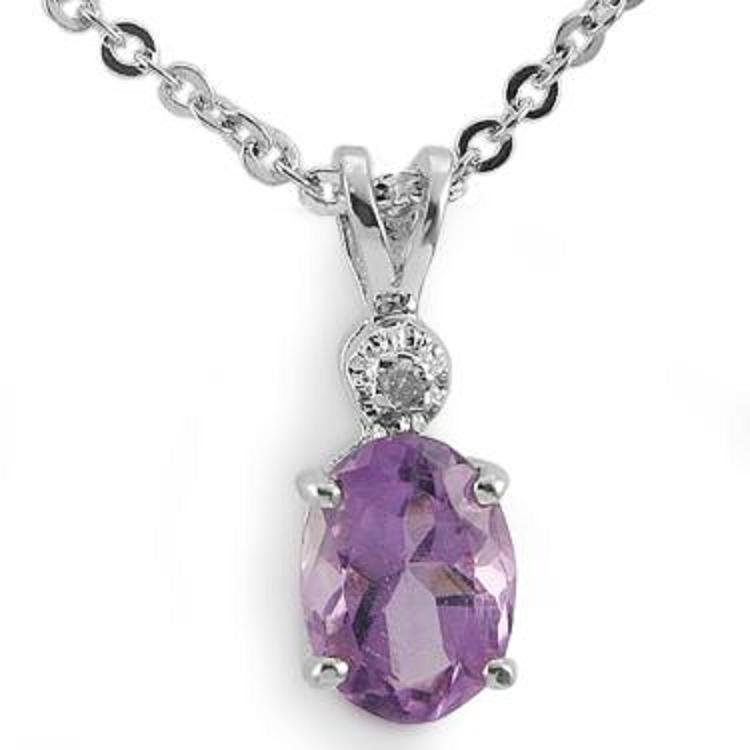 225: Genuine 1 CT Amethyst Diamond Pendant