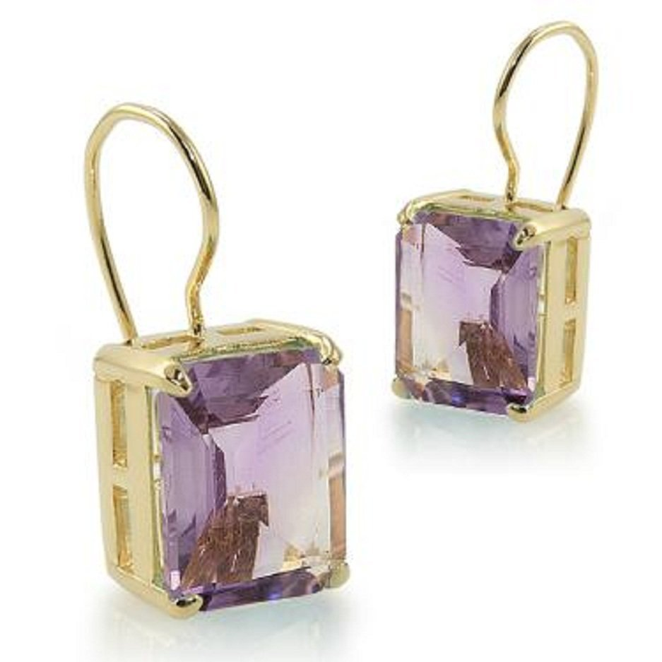 226: 4.4 CT Emerald Cut Amethyst Leverback Earrings