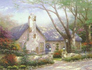 """329: Thomas Kinkade """"Morning Glory Cottage"""""""