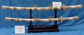 8: 2x Antique Bone Japanese Sword Set ! Rare!