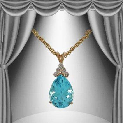 10: Genuine 6 CT Blue Topaz Diamond Pendant