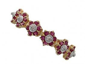 Genuine 9 CT Cabochon Ruby Diamond Bracelet