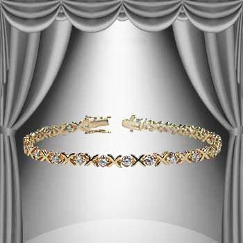 "28: 1.65 CTW ""Ex's and O's"" Diamond Tennis Bracelet"