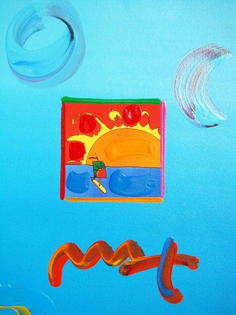 """30: Peter Max """"SAILBOAT"""" Original Mixed Media"""