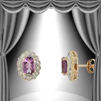 32: 1.7 CT Amethyst Diamond Egg Earrings