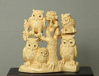 """41: Mammoth Ivory """"5 Owls Standing On Tree"""" Carving"""