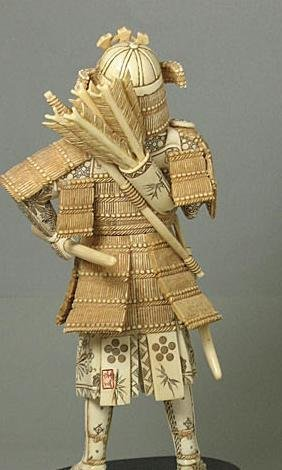 44: Mammoth Ivory Samuria Holding Sword Carving - 2