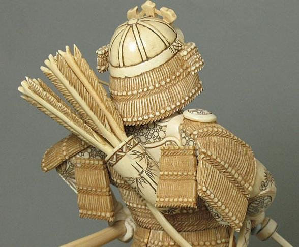 44: Mammoth Ivory Samuria Holding Sword Carving - 4