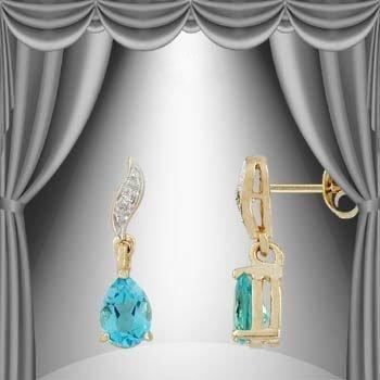 47: 1.6 CT Blue Topaz Diamond Dangle Earrings