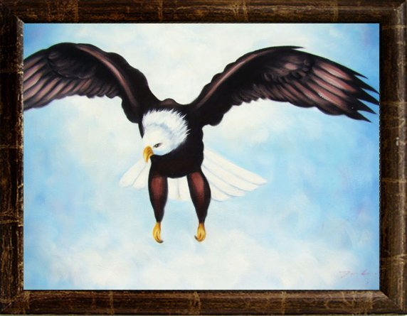 78: Framed Oil Painting, Pride of an Eagle
