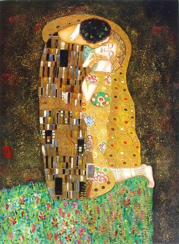 95: Huge Oil Painting on Canvas Kiss