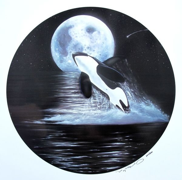 145: R. Wyland ORCA MOON Ltd Ed. Hand Signed Serigraph