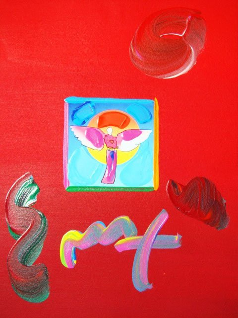 "153: Peter Max ""ANGEL WITH SUN"" Original Mixed Media"