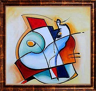 160: Framed Oil Painting, Abstract Fish