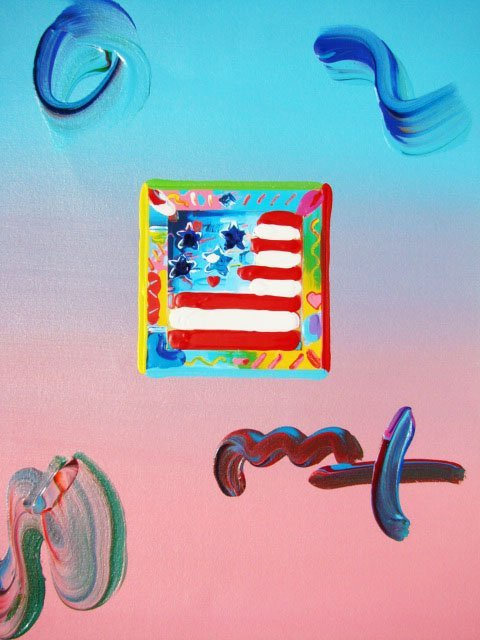 "165: Peter Max ""FLAG WITH HEARTS"" Original Mixed Media"