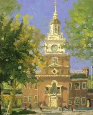 """7: Thomas Kinkade """"Liberty Plaza, Philadelphia"""""""