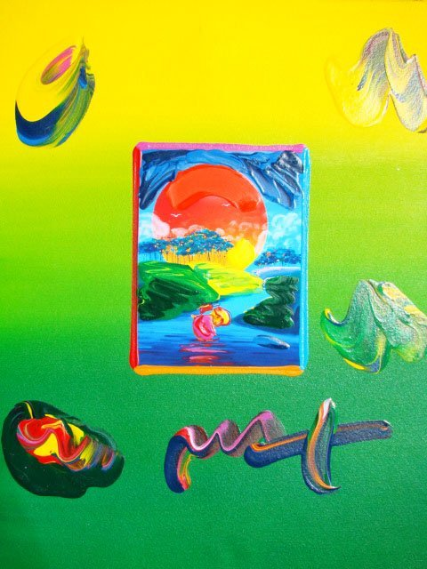"""9: Peter Max """"WITHOUT BORDERS"""" Original Mixed Media"""