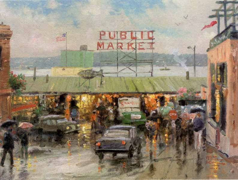 "8: Thomas Kinkade ""Pike Place Market"""