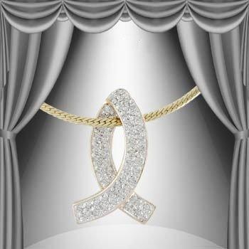 2: 0.34 CT Diamond Breast Cancer Pendant Necklace