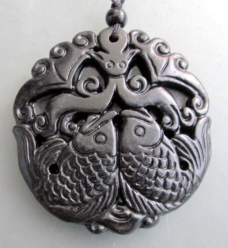 17: Royal Black Green Jade Twin Fish Amulet