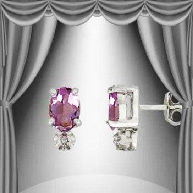 22: Genuine .85 CT Amethyst Diamond Silver Earrings