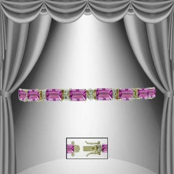 24: Genuine 13 CT Amethyst and Diamond Bracelet