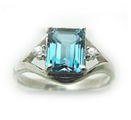 11: 2.10 CT Blue Topaz Diamond Ring Appraised $2,600