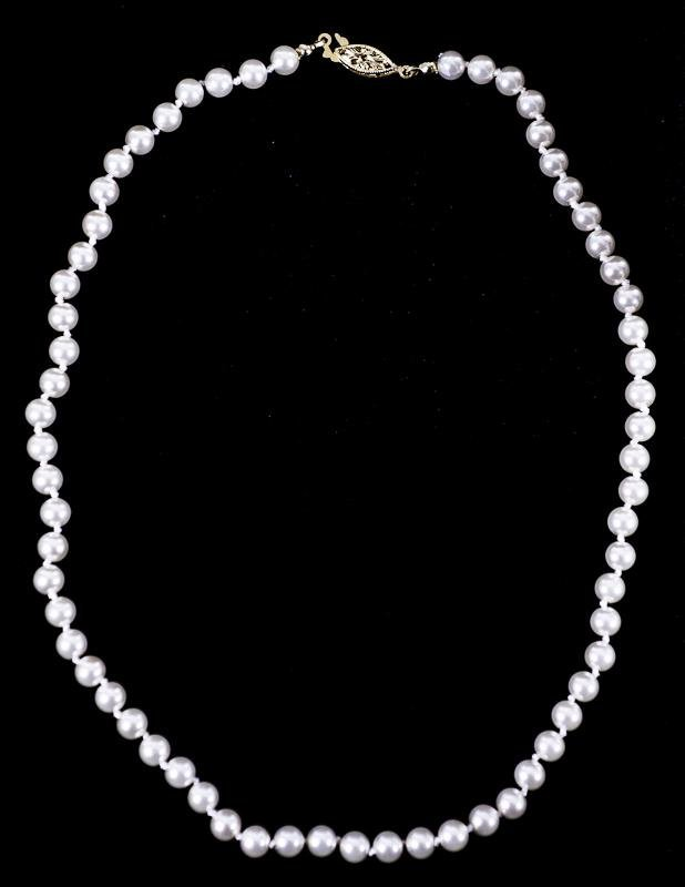 12: 6mm White Cultured Pearl Necklace
