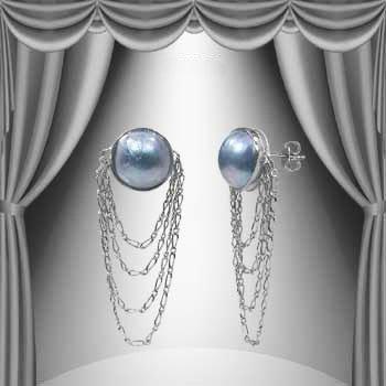 17: 13mm Grey Mobe Pearl Dangle Earrings