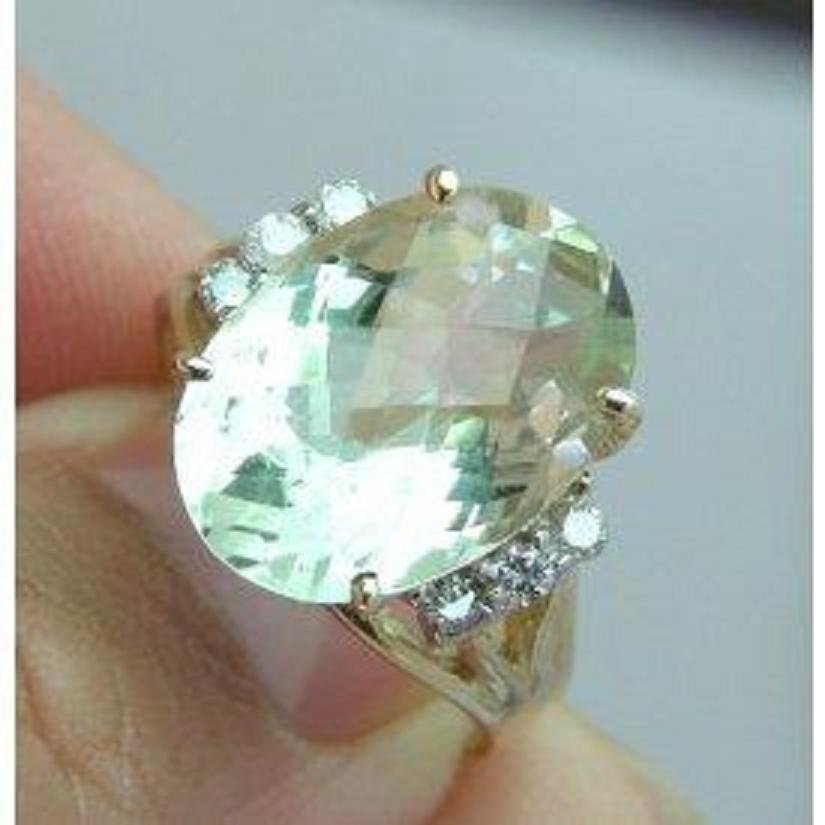 65: Green Amethyst Ring Setting With Diamond - Appraise