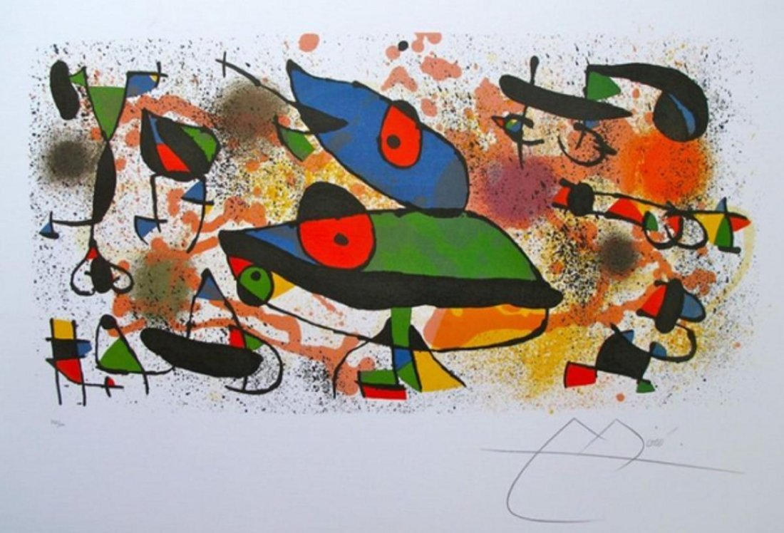 """JOAN MIRO /""""TOWARD THE LEFT/"""" Signed Limited Edition Lithograph Art"""