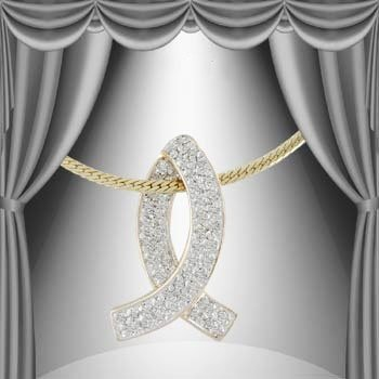 2: 0.34 CT Diamond Breast Cancer Pendant Necklace