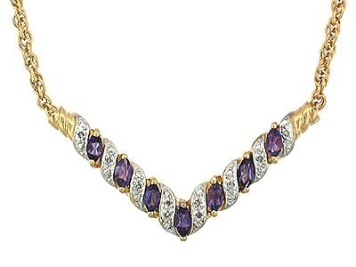 24: 7 CT Amethyst and Diamond Elegance Necklace