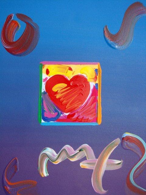 """8: Peter Max """"HEART"""" Original Mixed Media"""