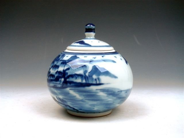 17: Antique QingHua Scenery Hand Painted Medicine Jar