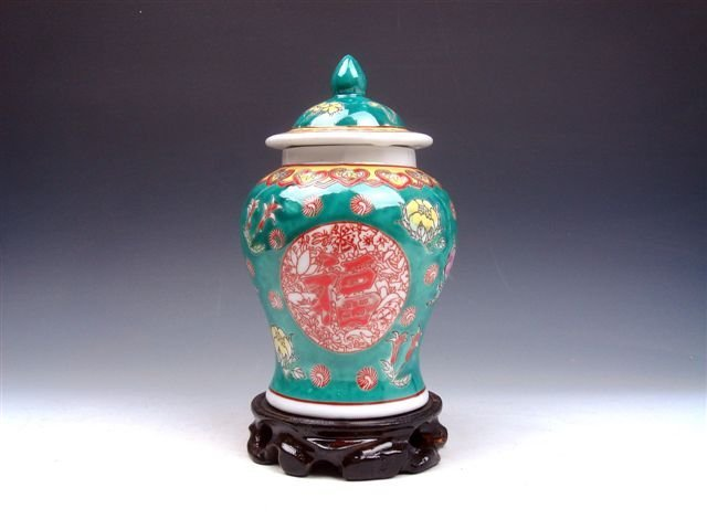381: Antique Famille-Rose Hand Painted Ginger Jar