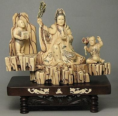 571: Mammoth Ivory KWUN YIN AND 2 KIDS Carving