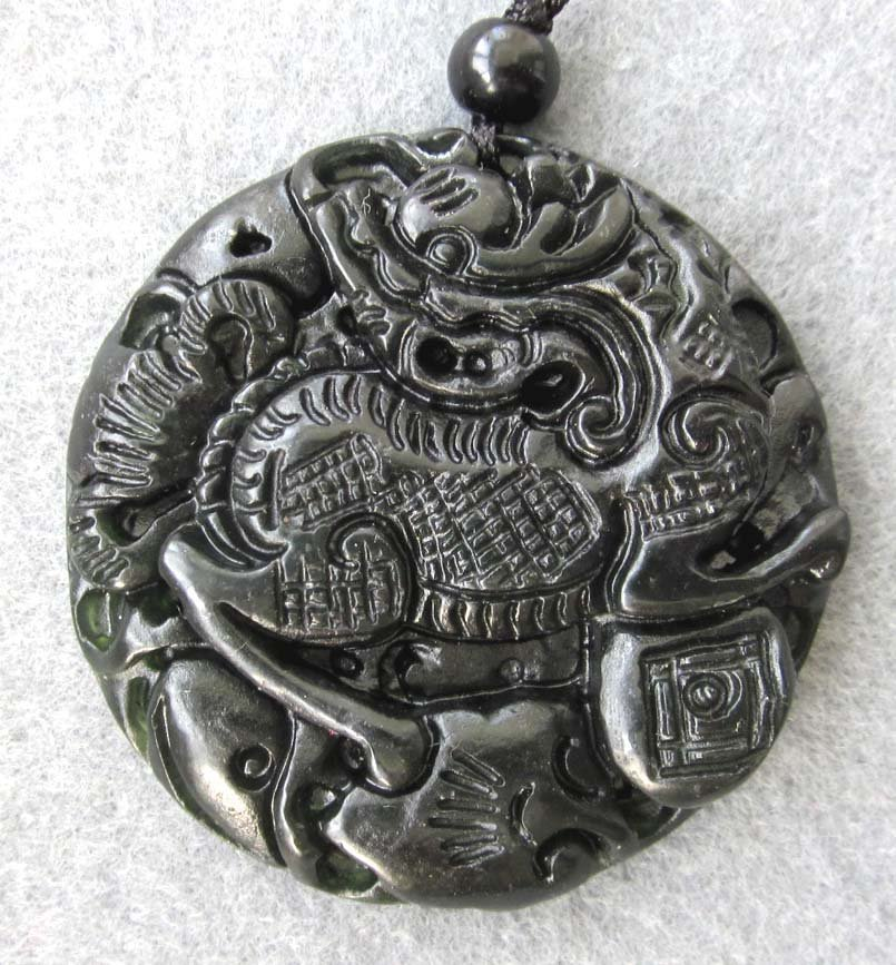 23: Royal Antique Black Green Jade Pi-Xiu Dragon Amulet