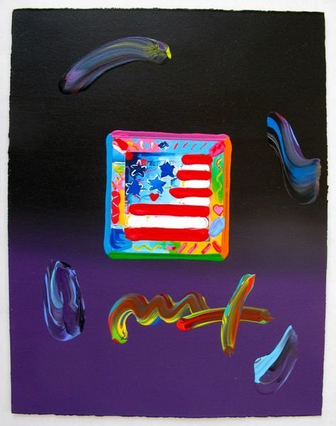 130: Peter Max FLAG WITH HEARTS Original Mixed Media