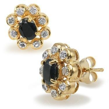13: Genuine 1 CT Sapphire Diamond Egg Earrings