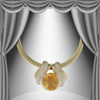 5: Genuine 7 CT Citrine Diamond Pendant