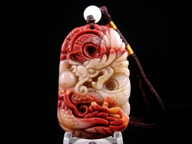 7: Solid Jade Curly Dragon Hand Carved Pendant
