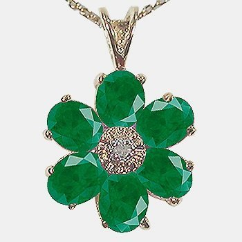 9: Genuine 5 CT Emerald Diamond Flower Pendant