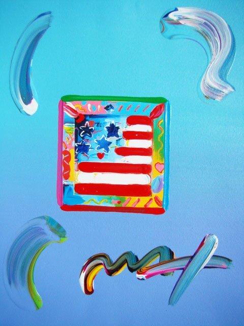 24: Peter Max FLAG WITH HEART Original Mixed Media