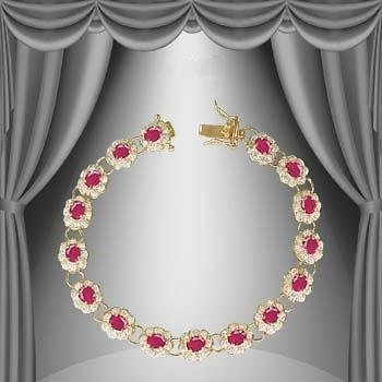 154: 9 CT Cabochon Ruby Diamond 18K Bracelet