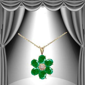 6: Genuine 5 CT Emerald Diamond Flower Pendant - 2